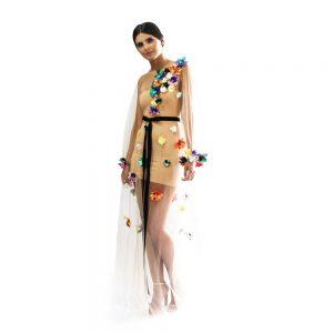 Vestido de tul flores 3D