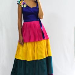 vestido plisado de colores